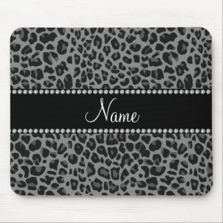 Personalized name black leopard pattern mouse pad