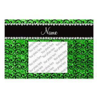Personalized name black lime green glitter swirls photo print