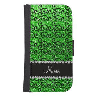 Personalized name black lime green glitter swirls galaxy s4 wallet