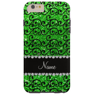 Personalized name black lime green glitter swirls tough iPhone 6 plus case