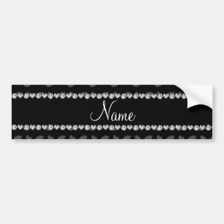 Personalized name black lips and hearts pattern car bumper sticker