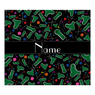 Personalized name black mini golf print