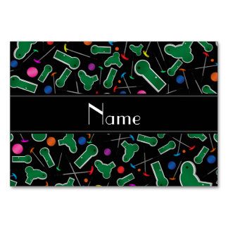 Personalized name black mini golf table cards