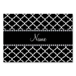 Personalized name Black moroccan pattern Card