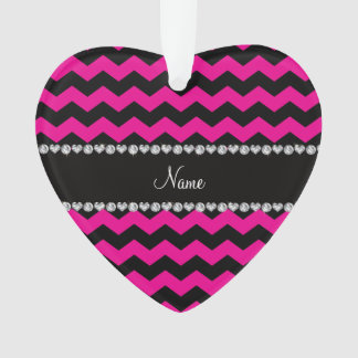 Personalized name black neon hot pink chevrons