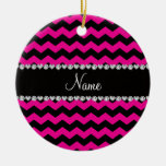 Personalized name black neon hot pink chevrons Double-Sided ceramic round christmas ornament