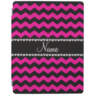 Personalized name black neon hot pink chevrons iPad cover