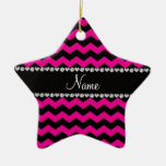 Personalized name black neon hot pink chevrons christmas ornaments