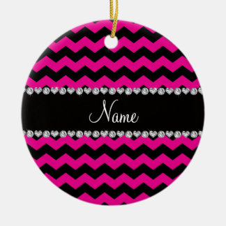 Personalized name black neon hot pink chevrons christmas tree ornaments