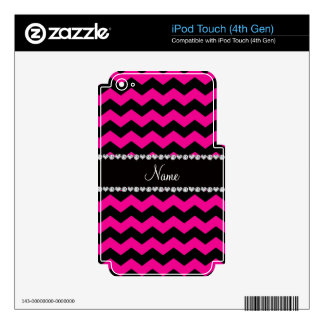 Personalized name black neon hot pink chevrons decal for iPod touch 4G