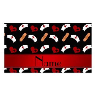 Personalized name black nurse pattern business cards
