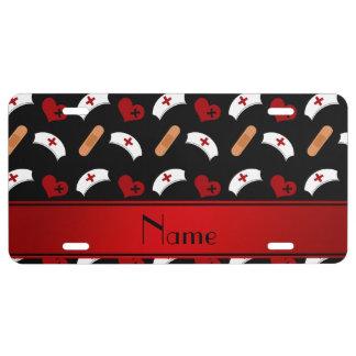 Personalized name black nurse pattern license plate