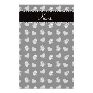 Personalized name black owl hearts stationery