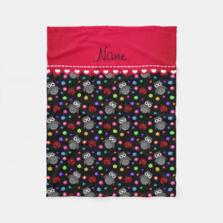 Personalized name black owls flowers ladybugs fleece blanket
