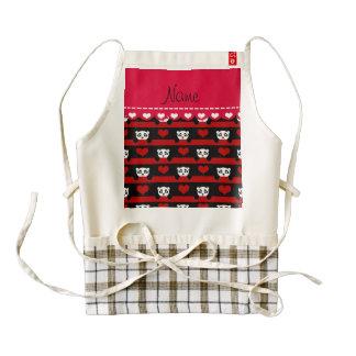 Personalized name black panda red heart stripes zazzle HEART apron