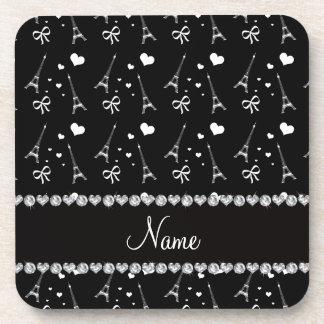 Personalized name black paris eiffel tower drink coaster