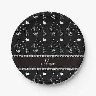 Personalized name black paris eiffel tower paper plate