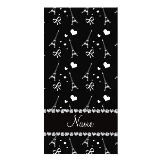 Personalized name black paris eiffel tower custom photo card