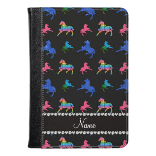 Personalized Name Black Patterned Horses Kindle Case at Zazzle