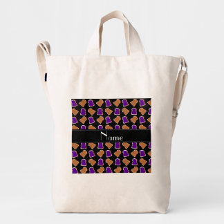 Personalized name black peanut butter jelly duck canvas bag