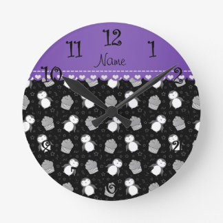Personalized name black penguins cupcakes stars round clock