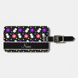 Personalized name black penguins flowers luggage tag