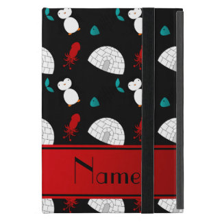 Personalized name black penguins igloo fish squid case for iPad mini