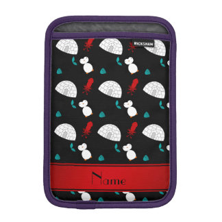 Personalized name black penguins igloo fish squid iPad mini sleeves