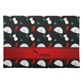 Personalized name black penguins igloo fish squid placemat