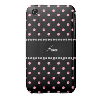 Personalized name Black pink diamonds iPhone 3 Case-Mate Case
