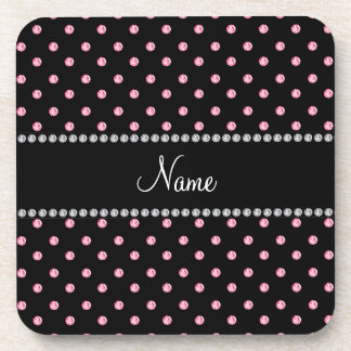 Personalized name Black pink diamonds Drink Coasters
