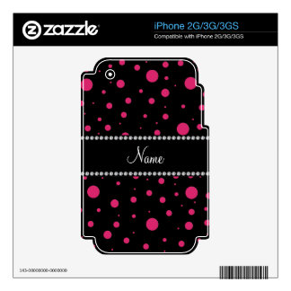 Personalized name black pink polka dots skins for iPhone 2G