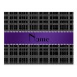 Personalized name black plaid pattern postcard