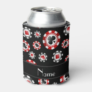 Personalized name black poker chips can cooler