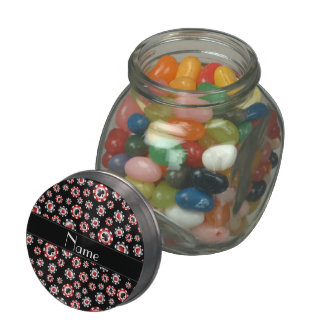 Personalized name black poker chips glass candy jar