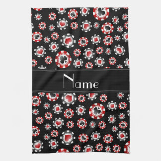 Personalized name black poker chips hand towel