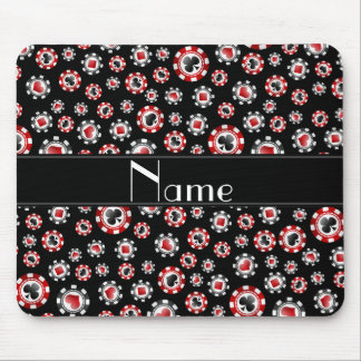 Personalized name black poker chips mouse pad