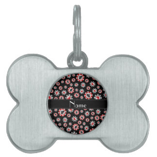Personalized name black poker chips pet ID tags