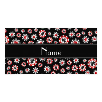 Personalized name black poker chips photo cards