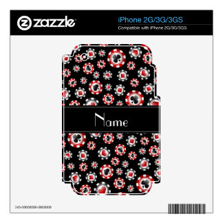 Personalized name black poker chips decals for iPhone 2G