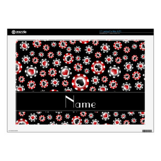 "Personalized name black poker chips skins for 17"" laptops"
