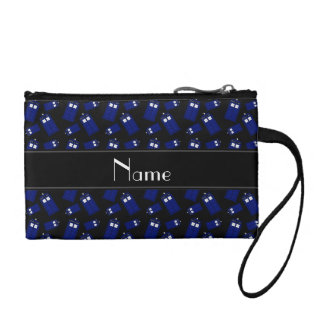 Personalized name black police box coin wallet