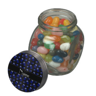 Personalized name black police box glass candy jars