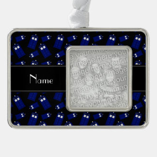 Personalized name black police box silver plated framed ornament