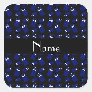 Personalized name black police box square sticker