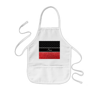 Personalized name black polka dots red glitter apron