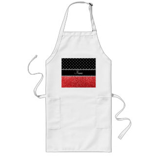 Personalized name black polka dots red glitter aprons