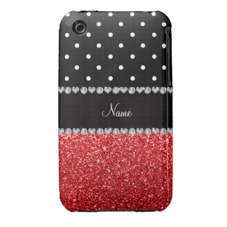 Personalized name black polka dots red glitter iPhone 3 Case-Mate case