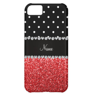 Personalized name black polka dots red glitter case for iPhone 5C