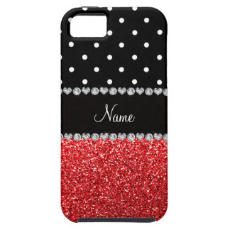 Personalized name black polka dots red glitter iPhone 5 cover